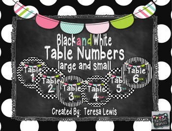 Black and White Chalkboard Table Numbers