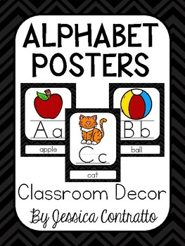 Black and White Chevron ABC Posters {Colored Graphics}