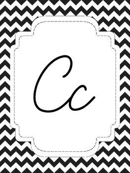 Black and White Chevron Alphabet