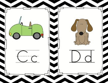Black and White Chevron Alphabet Posters (1/2 sheet)