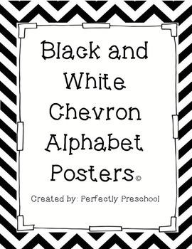 Black and White Chevron Alphabet Posters