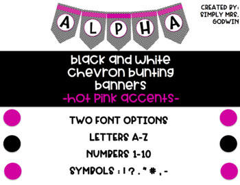 Black and White Chevron Banner with Hot Pink Accents