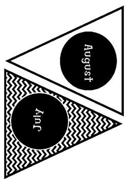 Black and White Chevron Birthday Bulletin Board Pennets