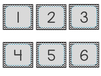 Black and White Chevron Calendar Numbers