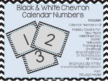 Black and White Chevron Calendar Numbers
