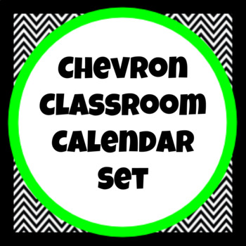 Black and White Chevron Classroom Calendar Set