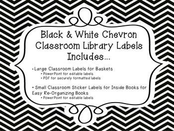 Black and White Chevron Classroom Library Label Pack