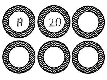 Black and White Chevron Clock Labels