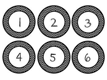 Black and White Chevron Clock Labels