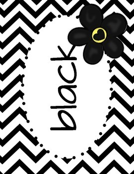 Black and White Chevron Color Posters