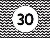 Black and White Chevron Cubby Tags 1-30