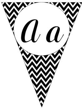 Black and White Chevron Cursive Alphabet