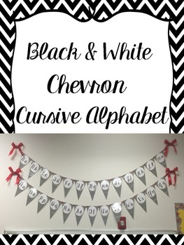 Black and White Chevron Cursive Alphabet