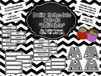 Daily Schedule Cards (Black and White Chevron) with welcom