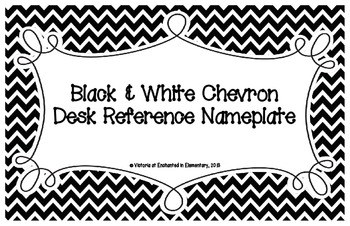Black and White Chevron Desk Reference Nameplates