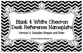 Black and White Chevron Desk Reference Nameplates Version 2