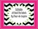Black and White Chevron Editable Book Bin Labels