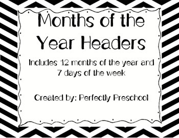 Black and White Chevron Monthly Headers