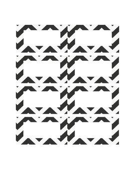 Black and White Chevron Name Cards