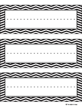 Black and White Chevron Name Plates