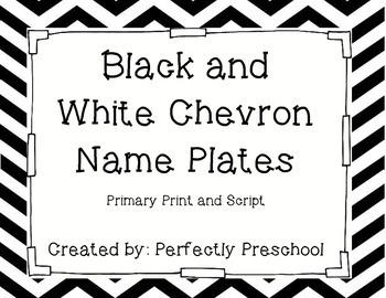 Black and White Chevron Name Plates