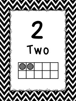 Black and White Chevron Number Posters (1-30) with Ten Frames