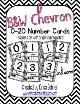 Number Signs: Black and White Chevron {with counting points}