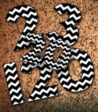 """Black and White Chevron Numbers - 1-120 Clip Art - 120pp PDF 120 PNGs – 5"""" High"""