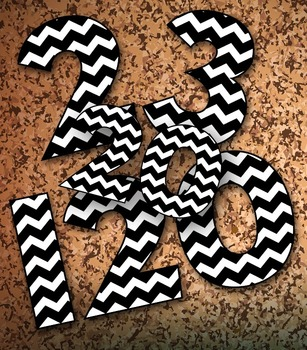 "Black and White Chevron Numbers - 1-120 Clip Art - 120pp PDF 120 PNGs – 5"" High"