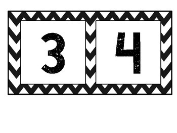 Black and White Chevron Numbers 1-50