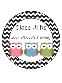 Black and White Chevron Owl Job Chart