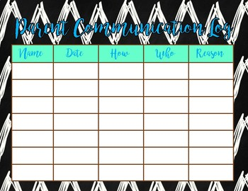 Black and White Chevron Parent Communication Log