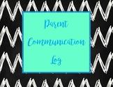 Black and White Chevron Parent Communication Log