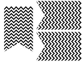 Black and White Chevron Pennant Banner
