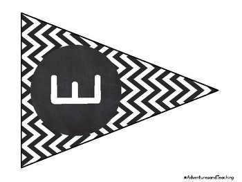Black and White Chevron Welcome Pennant Sign FREEBIE