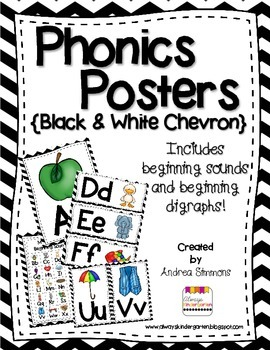 Black and White Chevron Phonics Posters
