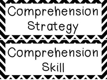 Black and White Chevron Reading Strategies and Skills posters