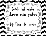 Black and White Chevron Rules Posters-Classroom Management