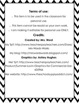 Black and White Chevron Student Desk Schedule Reminder Cards