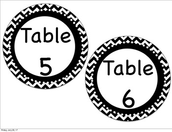 Black and White Chevron Table Numbers