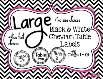 Black and White Chevron Table Signs (1-10)