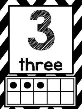 Black and White Chevron: Ten Frame and Tally Posters