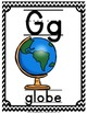 Alphabet Picture Cards & Flashcards {Chevron Black/White}