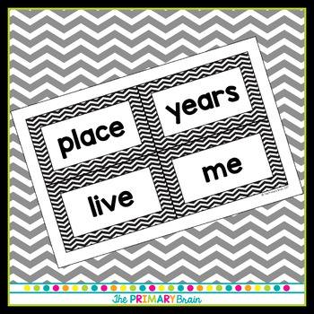 Black and White Chevron FRY Word Wall Cards