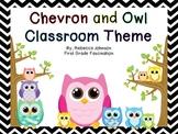 Black and White Chevron and Owl Calendar Classroom Super Pack