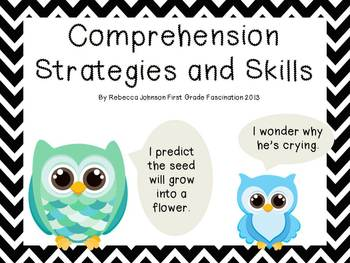 Black and White Chevron and Owl Reading Strategies and Skills posters
