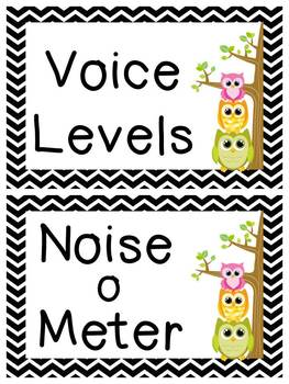 Black and White Chevron and Owl Voice Level posters