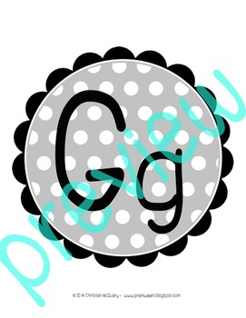 Black and White Chevron and Polka Dot Word Wall Headers