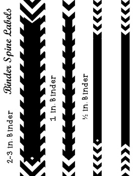 Black and White Chevron and Quatrefoil Binder Cover and Spine Label