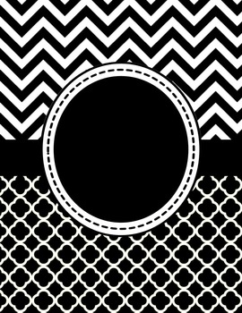 Black and White Chevron and Quatrefoil Binder Cover and Sp